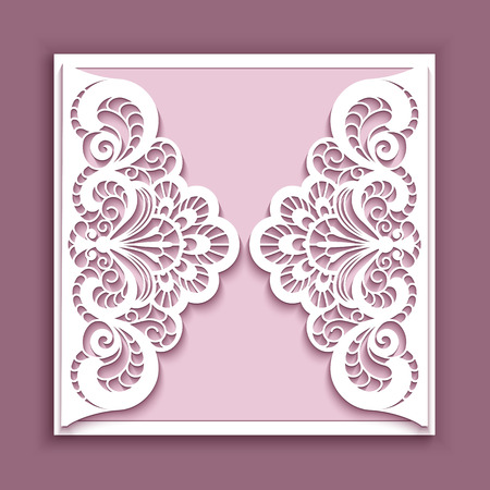 Elegant lace greeting card, square wedding invitation or announcement template