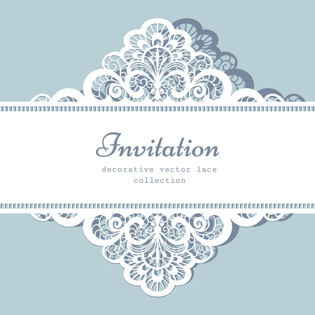 Elegant lace greeting card, wedding invitation or announcement template