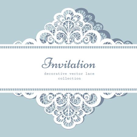 Elegante pizzo biglietto di auguri, invito a nozze o Modello per l'annuncio Archivio Fotografico - 39561986