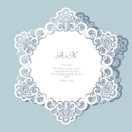 Round paper lace doily, greeting card, save the date or wedding invitation template