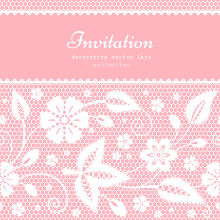 Floral lace background with white lacy border ornament, wedding card or invitation template Vector