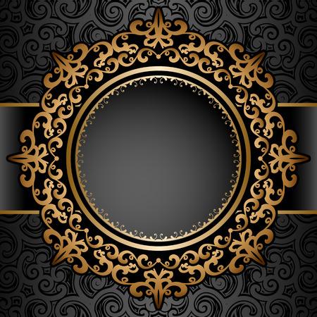 Vintage gold background, circle frame over pattern