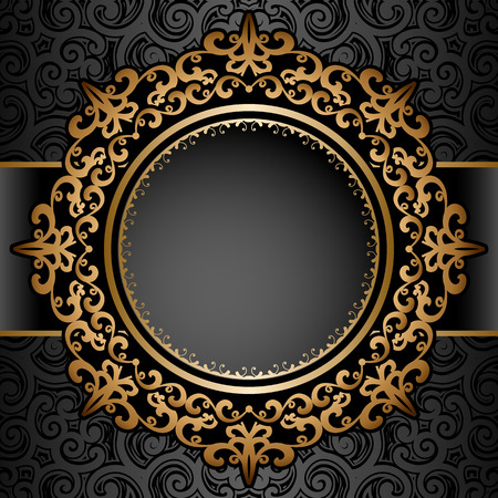 Vintage gold background, circle frame over pattern