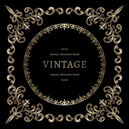 Vintage gold background, vignette, square frame template on black