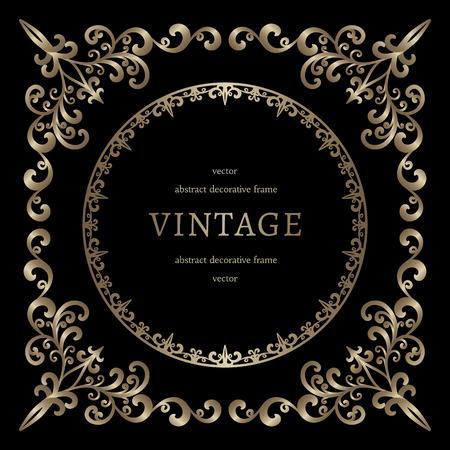 Vintage gold background, vignette, square frame template on black