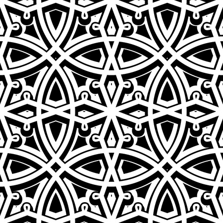 swirly: Black and white background swirly ornament vintage seamless pattern