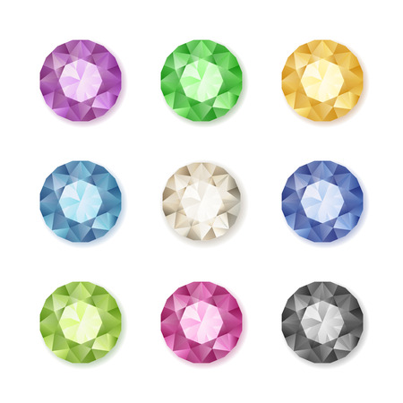 Set of colored gem stones round diamonds on white