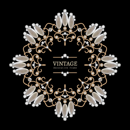 round collar: Vintage gold jewelry necklace round frame jewellery vignette with diamonds and pearls on black Illustration
