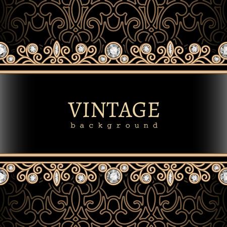 Vintage gouden achtergrond sieraden frame met naadloze grenzen Stock Illustratie