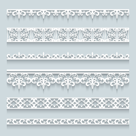 Set of lace borders with shadows, ornamental paper lines