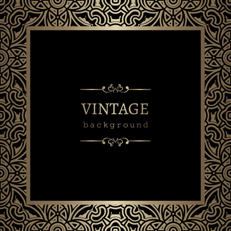 Vintage gold background, square ornamental frame on black Vettoriali
