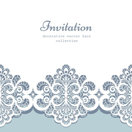 lace fabric: Elegant greeting card or wedding invitation template with lace border ornament
