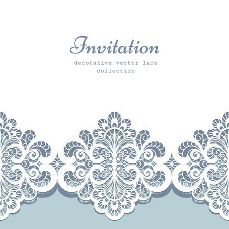 lace: Tarjeta de felicitaci�n elegante o plantilla de la invitaci�n de la boda con el ornamento de la frontera del cord�n