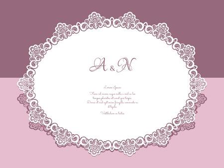 Papier dentelle napperon, carte de voeux, enregistrer le modèle d'invitation jour ou de mariage