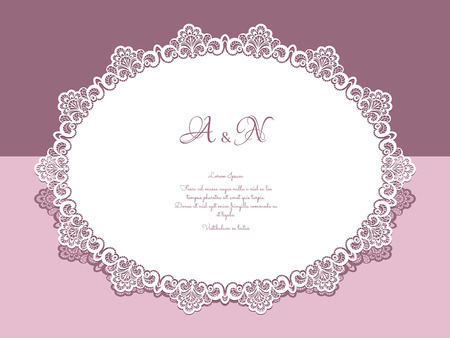 Paper lace doily, greeting card, save the date or wedding invitation template
