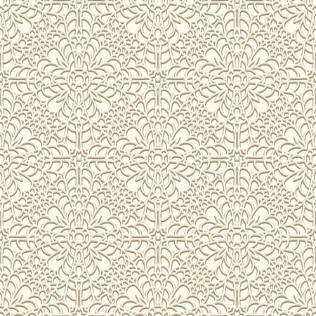 Vintage lace background crochet ornament seamless pattern in light color Imagens - 40446223