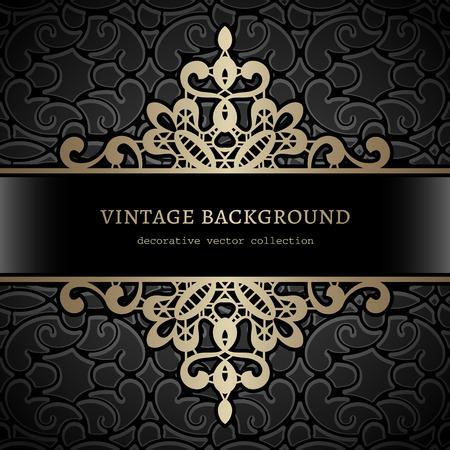 Vintage gold background, divider, header, ornamental frame 向量圖像