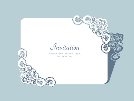 Rectangle paper frame with lace corners, lacy doily, greeting card or wedding invitation template