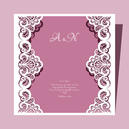 thank you cards: Elegant lace greeting card, square wedding invitation or announcement template