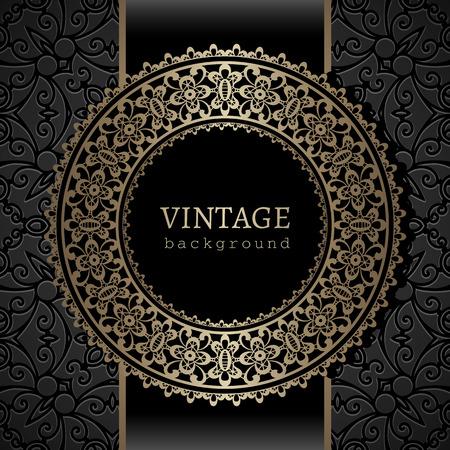 Vintage background, gold ornamental label, round frame template