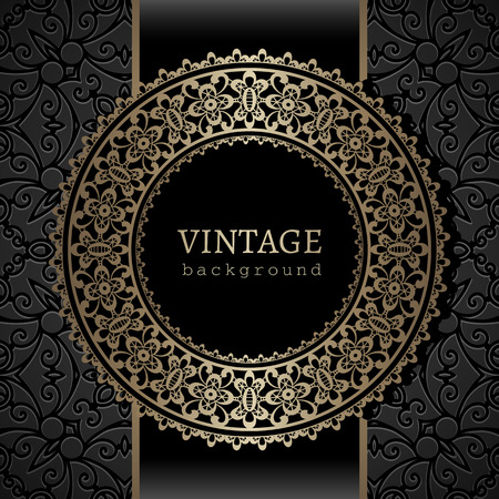 Vintage background, gold ornamental label, round frame template