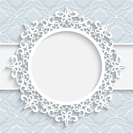 Paper frame with ornamental lace border  round vignette lacy label on white background