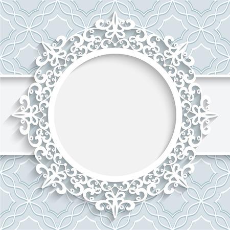 bordi decorativi: Cornice di carta con bordo in pizzo ornamentale etichetta rotondo vignetta di pizzo su sfondo bianco