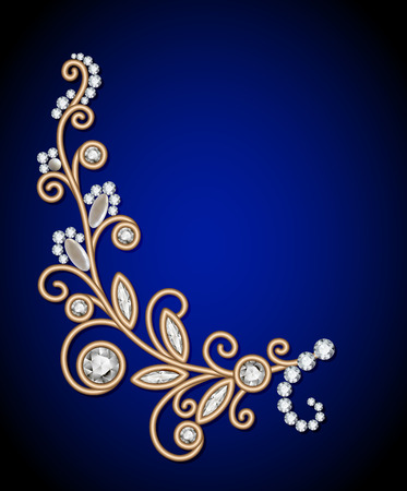 fashion jewellery: Gold jewelry background with diamond sprig, jewellery floral decoration, elegant greeting card or invitation template