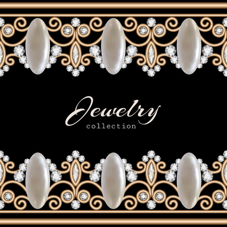Vintage gold background, elegant jewelry frame with seamless borders Vector