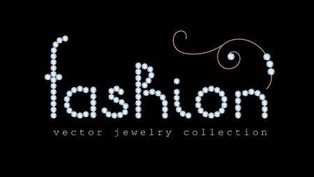 diamond jewellery: Fashion banner with diamond jewelry letters and gold jewellery swirl decoration on black Illustration