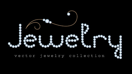 diamond letters: Jewelry banner with diamond jewelry letters and gold jewellery swirly decoration on black