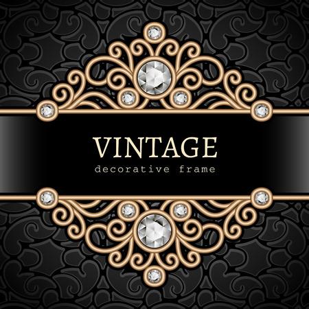 vintage gold frame: Vintage gold frame, divider, header, decorative jewelry background Illustration