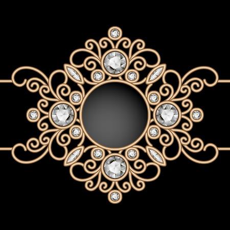 ornament  jewellery: Vintage gold background, diamond vignette, swirly jewelry frame on black