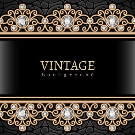 gemstone jewelry: Vintage gold background, elegant jewelry frame with seamless borders Illustration