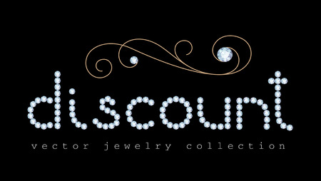 diamond letters: Discount banner with diamond jewelry letters and gold jewellery swirl decoration on black