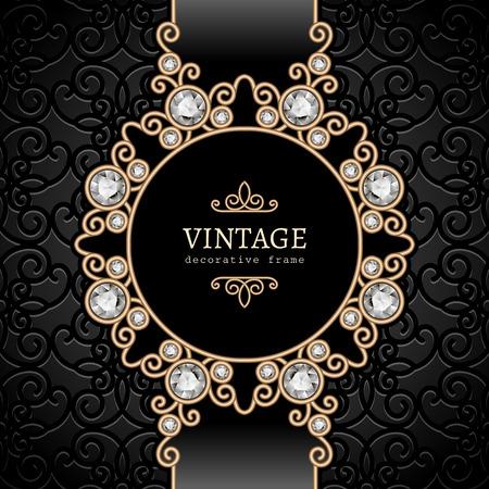 ヴィンテージ ゴールド背景、エレガントなダイヤモンド ビネット、渦巻き模様のジュエリー フレーム  イラスト・ベクター素材