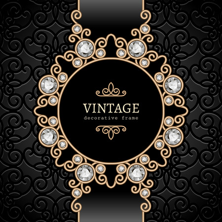 Vintage gold background, elegant diamond vignette, swirly jewelry frame Ilustração