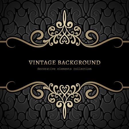 Vintage gold background, divider, header, ornamental frame Vettoriali