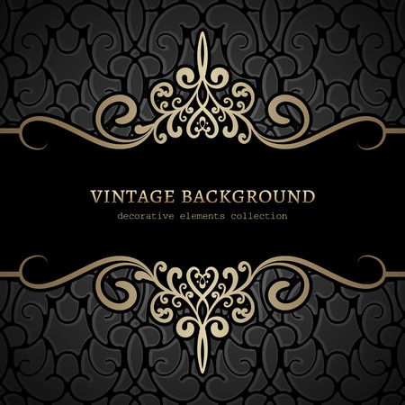 vintage lace: Vintage gold background, divider, header, ornamental frame Illustration