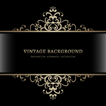 Vintage gold decoration on black background, divider, header, ornamental frame Vettoriali