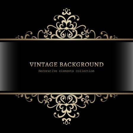 Vintage gold decoration on black background, divider, header, ornamental frame Stock Illustratie