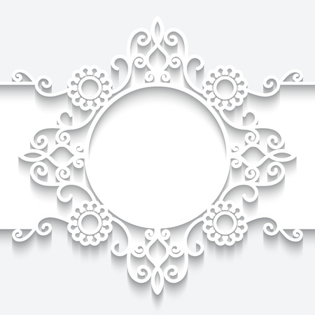 label frame: Paper frame with shadow, ornamental lacy label on white background