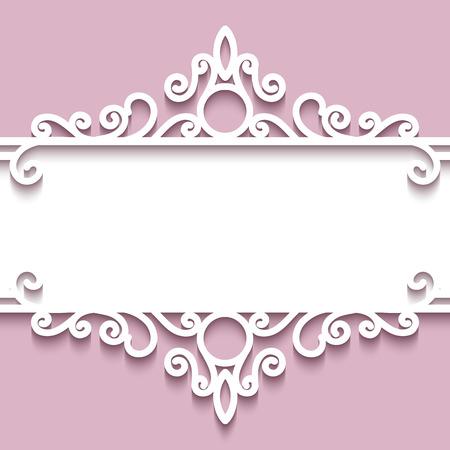 pink vintage: Abstract background with paper divider, header, ornamental frame Illustration