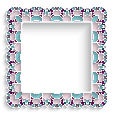majolica: Сeramic or majolica background, square frame with mosaic border ornament on white
