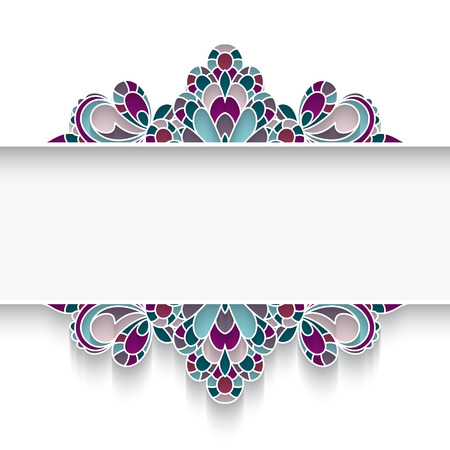 inlay: Mosaic background with elegant majolica border ornament on white