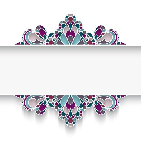 Mosaic background with elegant majolica border ornament on white