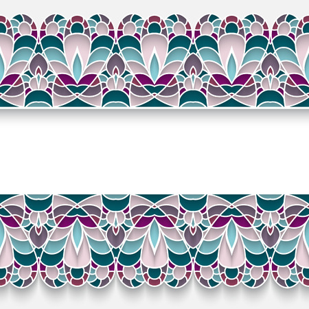 majolica: Mosaic background with elegant majolica border ornament on white