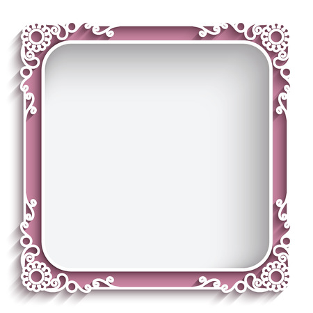 Abstract square lace frame with paper swirls, ornamental background Vettoriali