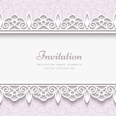 wedding border: Paper lace frame with seamless borders over pale ornamental background