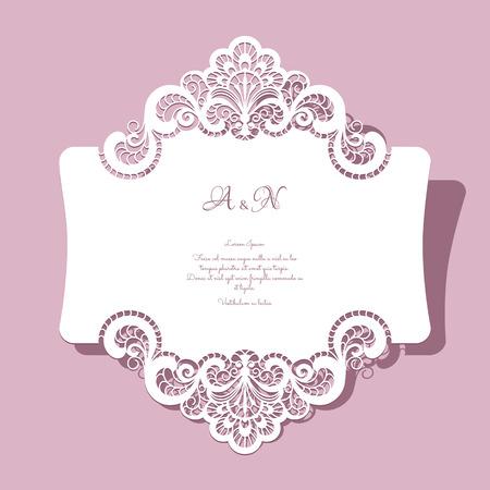 우아한 레이스 인사말 카드, 결혼식 초대 또는 발표 템플릿 일러스트
